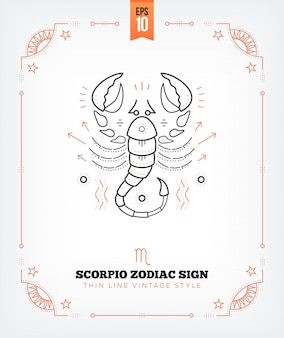 Vintage thin line scorpio zodiac sign label. retro astrological symbol, mystic, sacred geometry element, emblem, logo. stroke outline illustration. isolated on white
