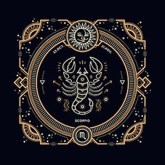 빈티지 얇은 라인 전갈 자리 조디악 로그인 레이블. 레트로 점성술 기호, 신비주의, 신성한 기하학 요소, 상징, 로고. 스트로크 개요 그림.