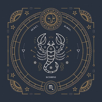 Vintage thin line scorpio zodiac sign label. retro  astrological symbol, mystic, sacred geometry element, emblem, logo. stroke outline illustration.