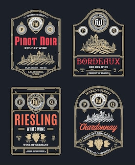 Vintage thin line style red and white wine labels