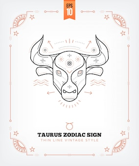 Vintage thin line taurus zodiac sign label. retro astrological symbol, mystic, sacred geometry element, emblem, logo. stroke outline illustration. isolated on white