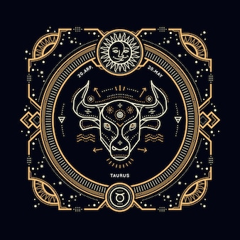 빈티지 얇은 라인 황소 자리 조디악 로그인 레이블. 레트로 점성술 기호, 신비주의, 신성한 기하학 요소, 상징, 로고. 스트로크 개요 그림.
