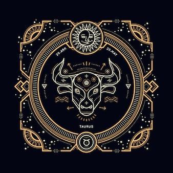 Vintage thin line taurus zodiac sign label. retro  astrological symbol, mystic, sacred geometry element, emblem, logo. stroke outline illustration.