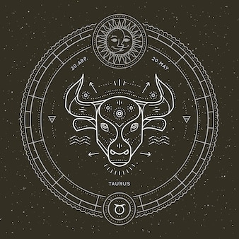 Vintage thin line taurus zodiac sign label. retro vector astrological symbol, mystic, sacred geometry element, emblem, logo. stroke outline illustration.