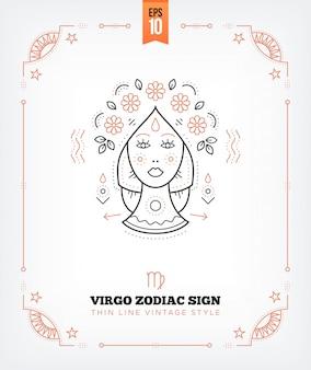 ヴィンテージの細い線おとめ座の星座のラベル。レトロな占星術のシンボル、神秘的な神聖な幾何学要素、エンブレム、ロゴ。ストロークの概要図。白で隔離
