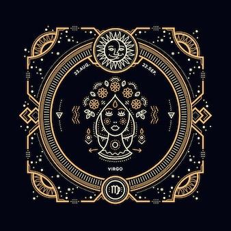 ヴィンテージ細い線おとめ座干支ラベル。レトロな占星術のシンボル、神秘的な神聖な幾何学要素、エンブレム、ロゴ。ストロークの概要図。