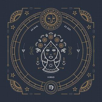 Винтаж тонкая линия этикетка знак зодиака дева. ретро астрологический символ, мистик, элемент сакральной геометрии, эмблема, логотип. инсульт наброски иллюстрации.