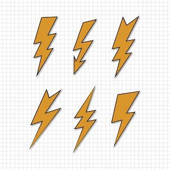 Vintage thunder set on paper background