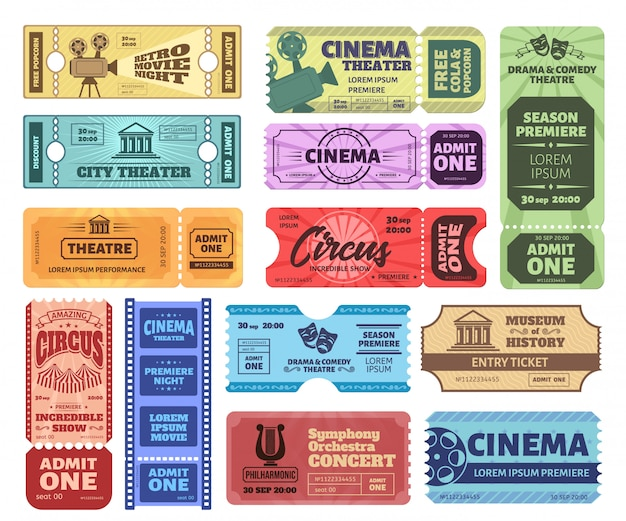 Винтажные билеты. примите один билет на цирковое шоу, купон на ночь в кино и купите билеты в театр. коллекция ретро красочных ваучеров. приглашение на концерт музыки, вход в музей