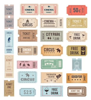 Vintage tickets with different grange textures