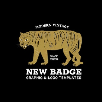 Vintage tiger badge linocut template