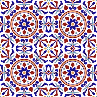 Vintage tile pattern with colorful patchwork turkish style, abstract floral decorative element for your design, beautiful indian and arabian ceramic wallpaper seamless decor vector