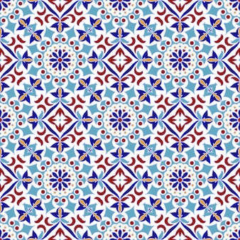 Vintage tile pattern with colorful patchwork turkish style