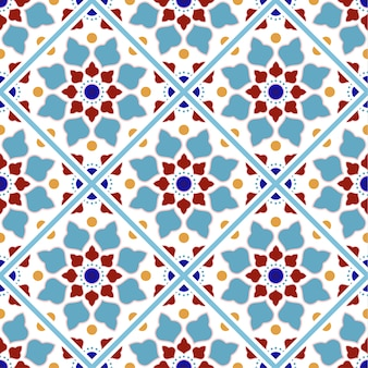 Vintage tile pattern with colorful patchwork