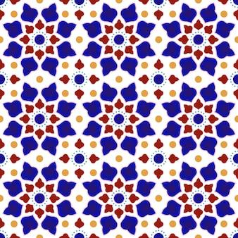 カラフルなパッチワークとビンテージタイルパターン