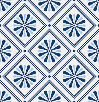 Vintage tile pattern with flower