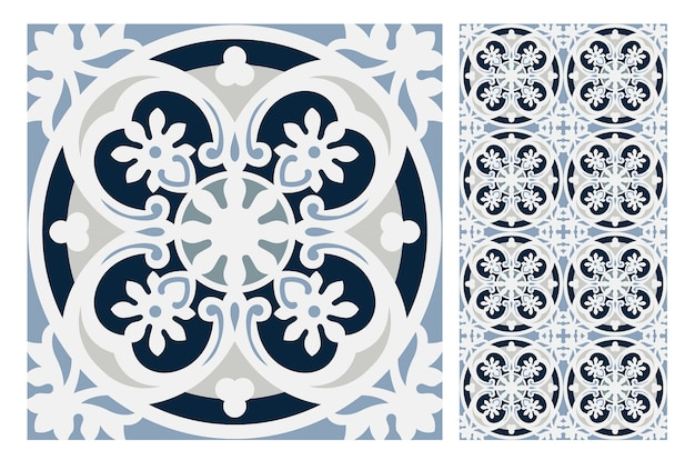 Vintage tiles antique seamless pattern