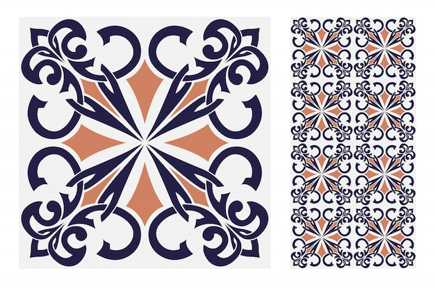 ビンテージタイルパターンベクトルイラストのアンティークのシームレスデザイン