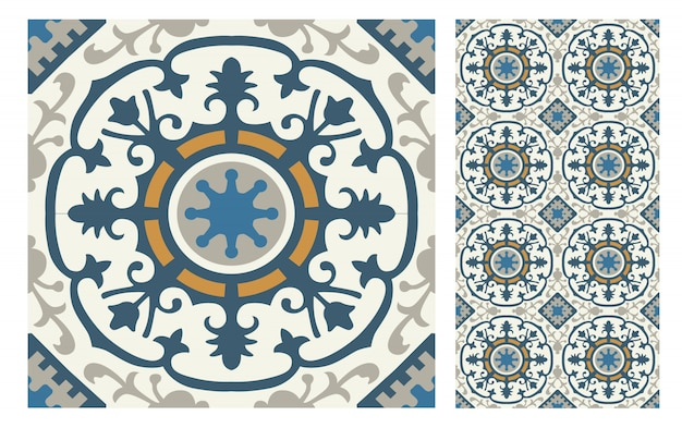 Vintage tiles patterns antique seamless design