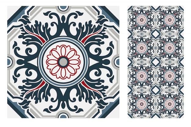 Vintage tiles portuguese antique seamless pattern