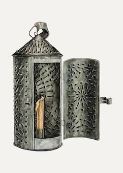 Vintage tin lantern vector illustration, remixed from the artwork by augustine haugland