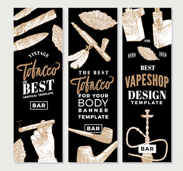 Banner verticale di tabacco vintage
