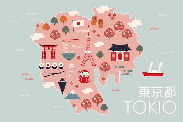 Vintage tokyo map with tourist attractions