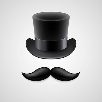 Vintage  top hat, mustaches.  illustration
