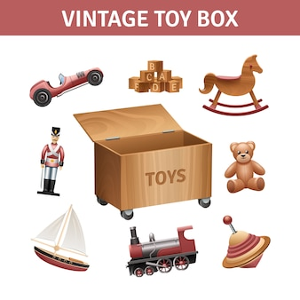 Vintage toy box set with rocking-horse train and ship