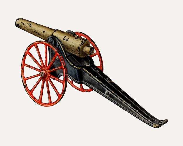 Vintage toy cannon illustration vector, remixed from the artwork by charles henning