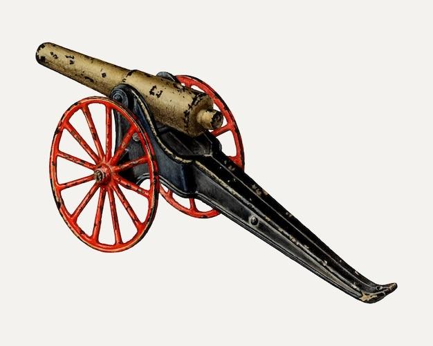 Векторная иллюстрация винтажной игрушечной пушки, ремикс из работы чарльза хеннинга