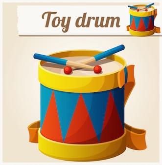 Vintage toy drum. cartoon vector illustration