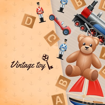 Vintage toys realistic background with toy soldier car and teddy bear