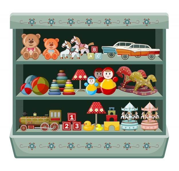 ヴィンテージのおもちゃ屋。棚。