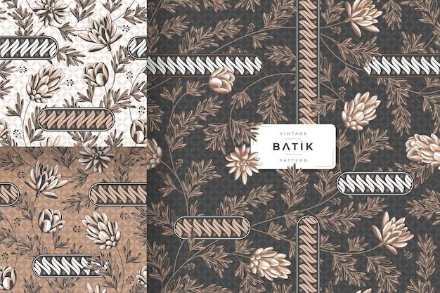 Vintage traditional batik pattern template