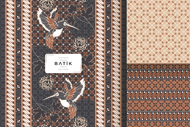 Vintage traditional batik seamless pattern collection