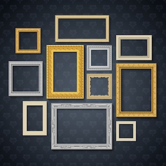 Vintage traditional realistic frames set on dark wall isolated vector illustration