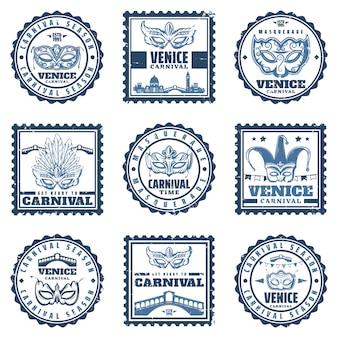 Старинные традиционные венецианские карнавальные марки с красивым венецианским маскарадом для лица