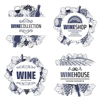 Vintage traditional wine templates with inscriptions bottles wineglasses bunch of grapes barrel vineyard corkscrew isolated