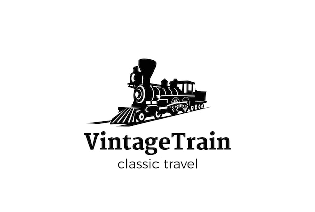 Vintage train logo isolated on white