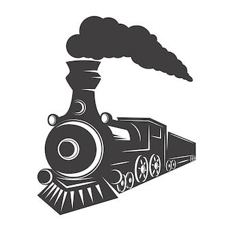 흰색 바탕에 빈티지 기차입니다. 로고, 라벨, 엠 블 럼, 기호에 대 한 요소입니다. 삽화