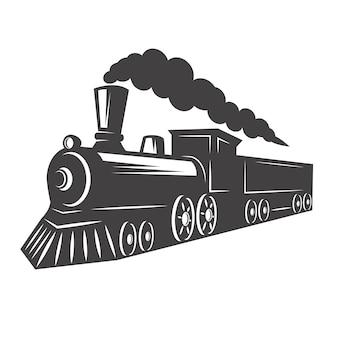 白い背景の上のヴィンテージ列車。ロゴ、ラベル、エンブレム、記号の要素。図