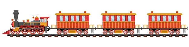 Vintage train on railroad design illustration isolated on white background