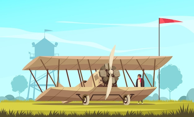 Vintage transport airplane composition with outdoor landscape and view of field with classic turbo propelled aircraft