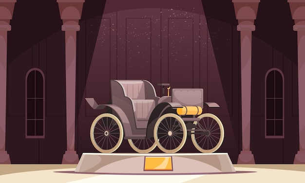 Vintage transport composition with museum scenery columns and open car standing on podium with golden signboard
