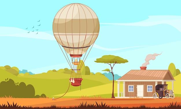 자동차와 지상에 묶인 에어로 스탯 공기 풍선이있는 야외 풍경 집이있는 빈티지 교통 구성