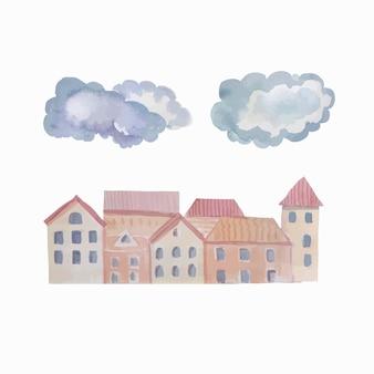 ヴィンテージ輸送蒸気雲都市と山の旅行の冒険