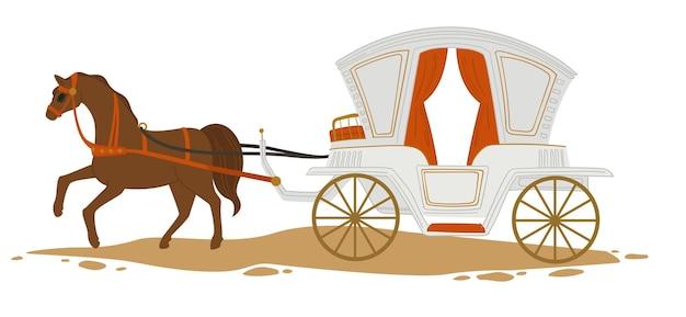 街や町でのヴィンテージの交通機関、エレガントで豪華な馬車を引く孤立した馬。道路上の輸送のアンティークとレトロなスタイル。ワゴンに座ってロマンチックな散歩。フラットスタイルのベクトル