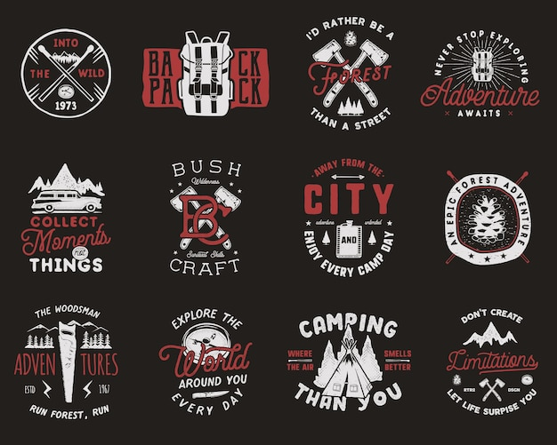 Vintage travel badges set camping logos with hiking icons and symbols