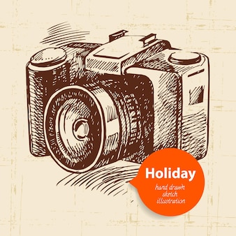 Vintage travel and holiday background with camera. hand drawn sketch illustration